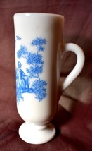 Vintage tall white footed glass with blue victorian couple AVON 5 1/8 in... - $11.29