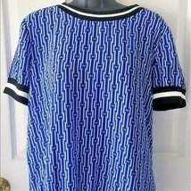 Michael Kors Blue Geometric Blouse Shirt Top Medium M NWT - $99.99