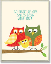 The Kids Room by Stupell Owl Family Smiles Begin with You Rectangle Wall... - $44.37