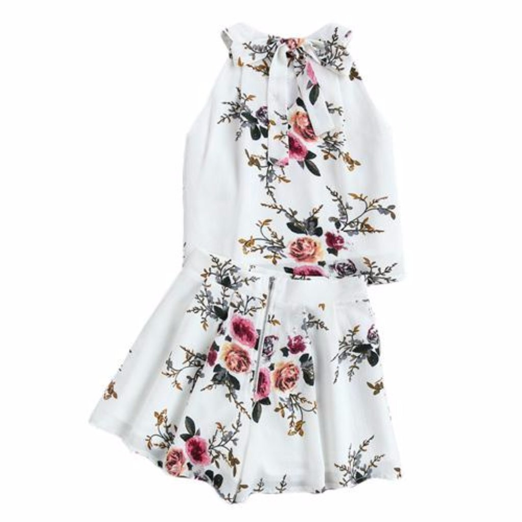 Two Piece Set Floral Chiffon Women Romper
