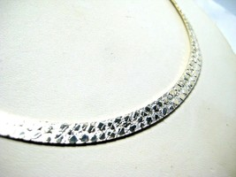 "Sterling Silver 1/4"" Wide Herringbone Chain with Surface Detailing  17.5"" 19.1g - $115.00"