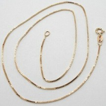 18K ROSE GOLD CHAIN MINI 0.8 MM VENETIAN SQUARE LINK 17.7 INCHES MADE IN ITALY  image 1