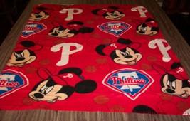 Cute Philadelphia Phillies Mickey Mouse Baseball Toddler Fleece Throw Blanket - $14.85