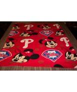 CUTE PHILADELPHIA PHILLIES Mickey Mouse Baseball Toddler FLEECE THROW BL... - $14.85