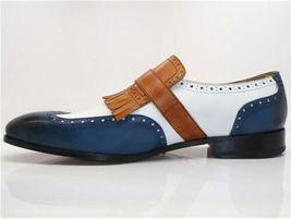 Handmade Men's Blue & White Wing Tip Fringe Monk Strap Leather Soes image 2