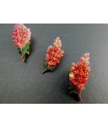 Vintage Earrings Brooch Pin Set Clip On Pink Flowers Mid Century        ... - $24.49