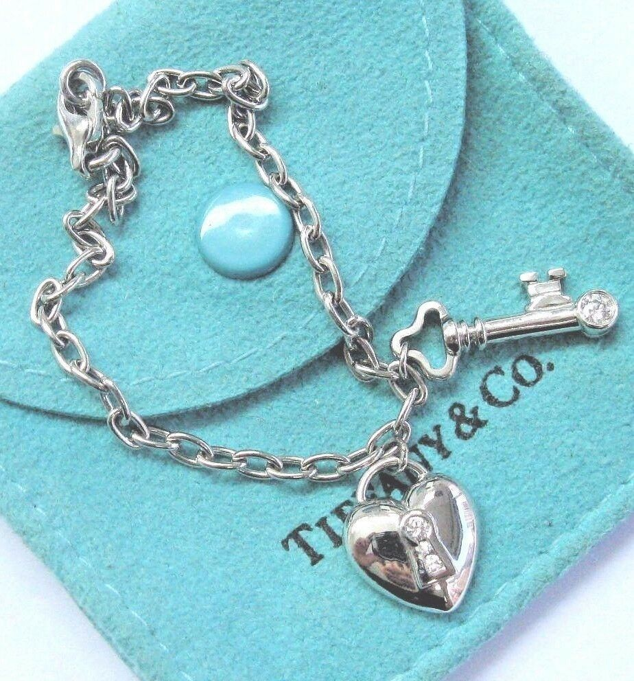 Tiffany & Co Heart Lock & Key Platinum Bracelet 4-Diamonds RETIRED