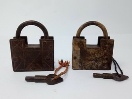 Antique Original Iron Spring System Padlock Hand Carved Pad Lock 2pc Col... - $140.25