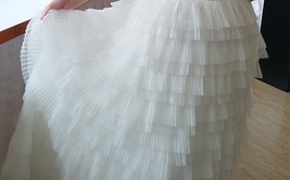 WHITE Layered Tulle Midi Skirt High Waisted Tulle Ruffle Skirt Wedding Outfit  image 5