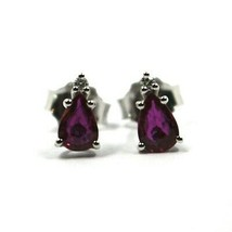 18K WHITE GOLD RUBY EARRINGS 0.92 CARATS, DROP CUT, TWO DIAMONDS 0.03 CARATS image 2