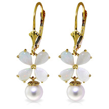 6 Carat 14K Solid Gold Leverback Earrings Opal pearl - $463.23