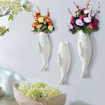Interior Wall Hung Decorative Fish Shape Vase with Artificial Flowers Home Bar image 3
