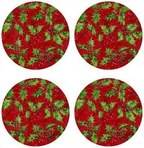 "SET OF 4 HARD PLACEMATS WITH CORK BACK, 14"" ROUND, HOLLY BERRIES ON RED, BM - $19.79"