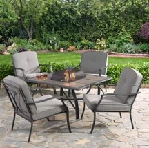 NEW Set of 4 Chairs and Fire Pit Wood Burning with Tile Top Gray Cushion... - $299.00