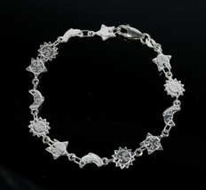 Vintage 925 Sterling Silver Signed HAN Smilin Sun Moon Link Tennis Brace... - $29.68