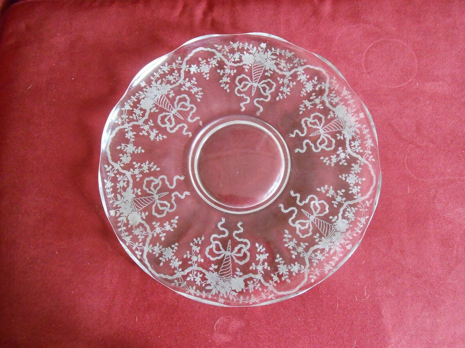 "Primary image for Fostoria Glass Platter Tray ""Corsage"" Depression Glass Etched Flower Bouquet"