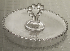 Imperial Glass Candlewick Candy Pastry Appetizers Dish with Heart Handle - $8.86