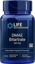Life Extension DMAE Bitartrate (dimethylaminoethanol) 150 mg,  200 Vegetarian... - $16.16