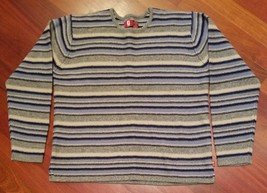 Vintage Guess Jeans Sweater Lambs Wool Blend Striped Blue Gray XXL - $19.79