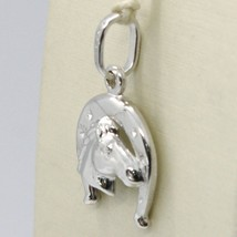 18K WHITE GOLD HORSESHOE AND HORSE CHARM PENDANT SMOOTH BRIGHT MADE IN ITALY image 2