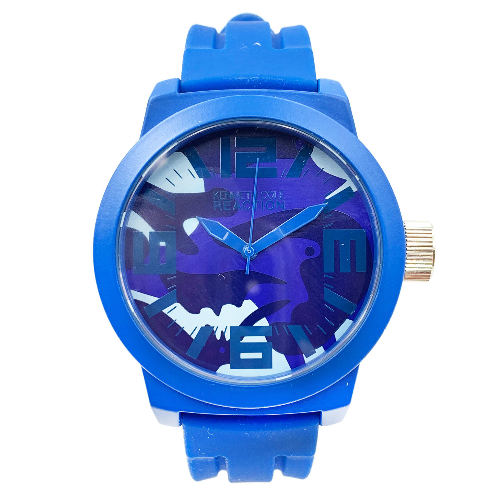 Kenneth Cole Reaction Silicone Blue band Mens Quartz watch RK1296