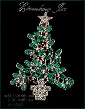 Eisenberg Ice Signed Green and Red Rhinestone Christmas Tree Pin (#J1245) - $144.45 CAD