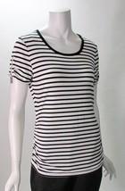 Michael Kors Short Sleeve Black & White Striped Shirt Gathered Zip Detail Sz M  - $29.49