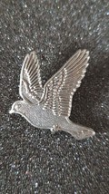pewter flying dove, bird with clip on rear Pin ,Badge / tie pin