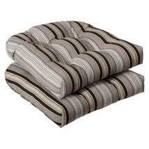 Pillow Perfect Indoor/Outdoor Black/Beige Striped Wicker Seat Cushions, 2-Pack - $54.32