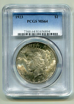 1923 PEACE SILVER DOLLAR PCGS MS64 NICE ORIGINAL COIN BOBS COINS FAST SH... - $45.00