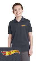 Youth Hot Wheels Embroidered Polo Shirt S M L Xl Xxl Gray Dry Fit Polyester - $24.99