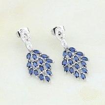 Leaf 925 Silver Jewelry Blue Stones White Zircon For Women Anniversary S... - €25,55 EUR
