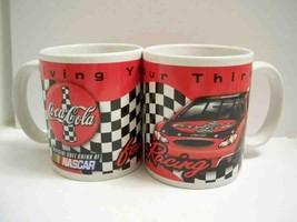 Ceramic Coke coffee mugs x 2 Coca Cola NASCAR Drive your Thirst 10 oz - $12.16