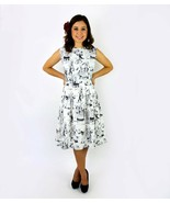 Cute Rockabilly 50s Retro Day of the Dead White Black Skeleton Dress Pin Up - $71.53