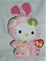 TY Hello Kitty Plush Pink Easter Bunny Rabbit Stuffed Beanie Sanrio 9 in... - $19.79