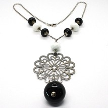 Necklace Silver 925, Onyx Black, Agate White, Flower Milled Pendant - $180.00