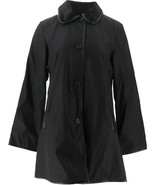 Dennis Basso Reversible Water Resistant Button Front Coat Black XS NEW A... - $89.08