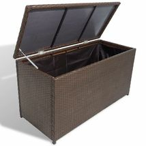 vidaXL Garden Storage Chest Poly Rattan Bench Cabinet Box Organizer 2 Colors image 6