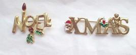 "VTG Christmas Xmas 2.75""  Noel  1.5"" Brooch Pin Gold Tone Enamel Lot Of 2 - $14.84"
