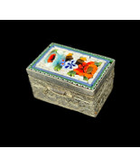 Antique Micro Mosaic Silver Tone Small Floral Decorative Trinket Box Pil... - $62.99