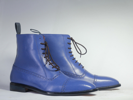 Handmade Men's Blue Two Tone High Ankle Lace Up Dress/Formal Leather Boots image 2