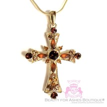 Ladies Women Girls Fashion Austrian Crystal Gold Bronze Beautiful Cross ... - $29.95
