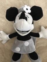 "Disney Parks Minnie Mouse Black White Gray Plush Doll 7"" Toy Park Souven... - £15.76 GBP"