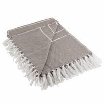 DII Rustic Farmhouse Cotton Thin White Striped Blanket Throw with Fringe... - €26,09 EUR