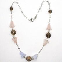 Collar Plata 925 , Bluebell, Flores, Campanas, Cuarzo Rosa, Calcedonia image 2