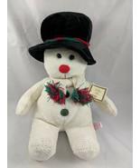 "Russ Snowman Plush 15.5"" Black Hat Scarf Stuffed Animal toy - $10.95"