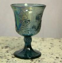 Indiana Carnival Glass Blue Iridescent Harvest Grape Goblet Wine Glass Lot of 2 - $24.25