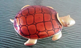 Vintage Signed Don-Lin Enamel Sea Turtle Pin Brooch - $23.75