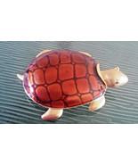 Vintage Signed Don-Lin Enamel Sea Turtle Pin Brooch - $23.75