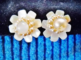 SMALL FLOWER SHAPED MOTHER OF PEARL/FAUX PEARL BEAD SCREW-BACKS - $7.99